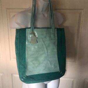 Never used Large Tiffany blue leather /suede bag